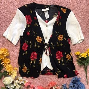 Retro Floral Shirt Vest   S